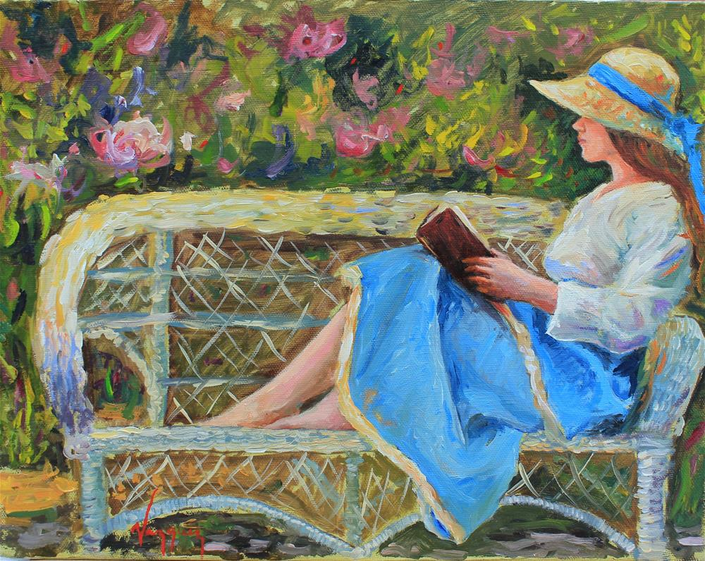 """Reading"" original fine art by Marco Vazquez"