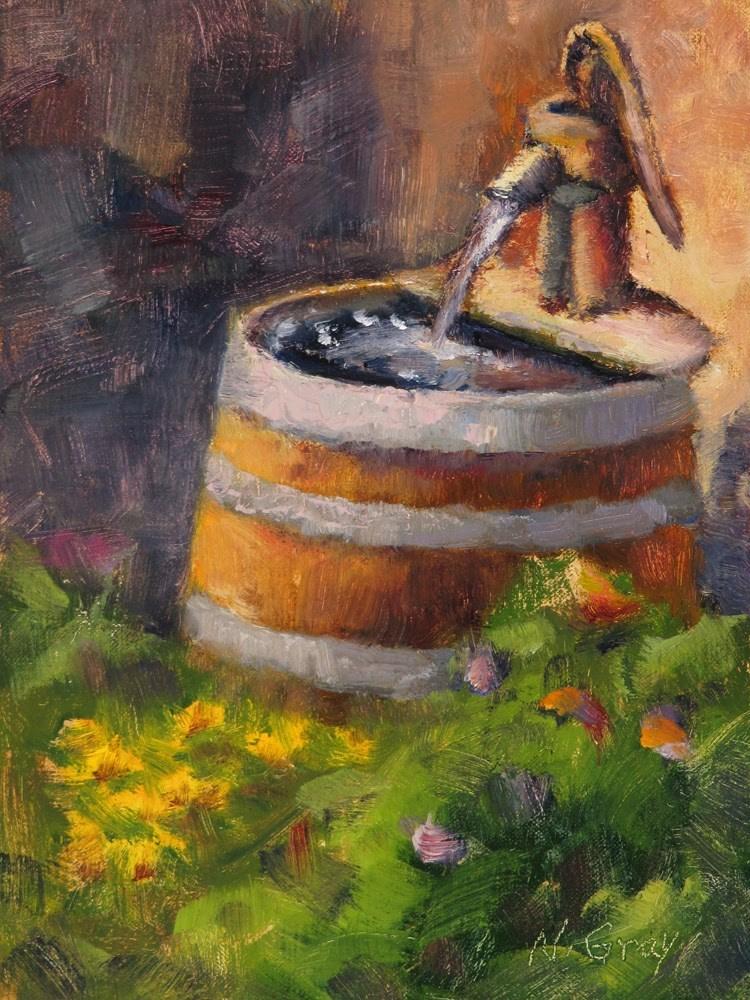 """Wine Barrel Fountain"" original fine art by Naomi Gray"