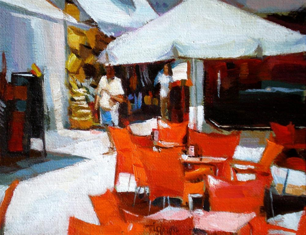 """""""Red chairs waiting"""" original fine art by Víctor Tristante"""
