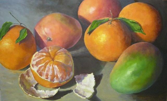 """""""Oranges and Mangos"""" original fine art by Katie Wilson"""