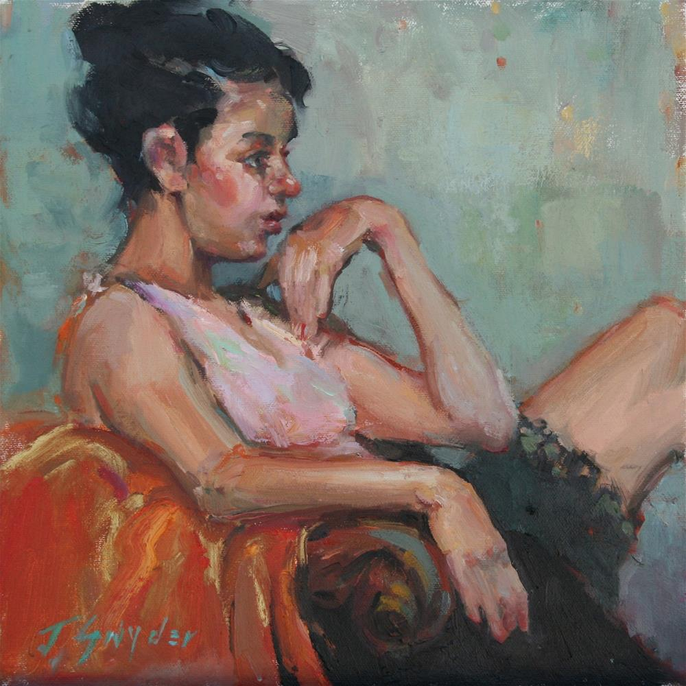 """Pink Shirt"" original fine art by Julie Snyder"