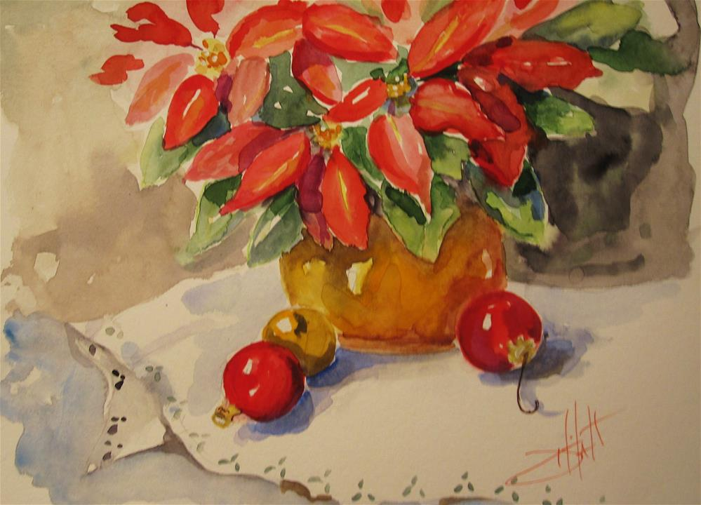 """""""Christmas Poinsettia and Ornaments"""" original fine art by Delilah Smith"""