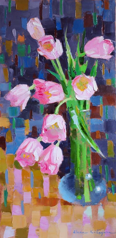 """Pink Tulips"" original fine art by Elena Katsyura"