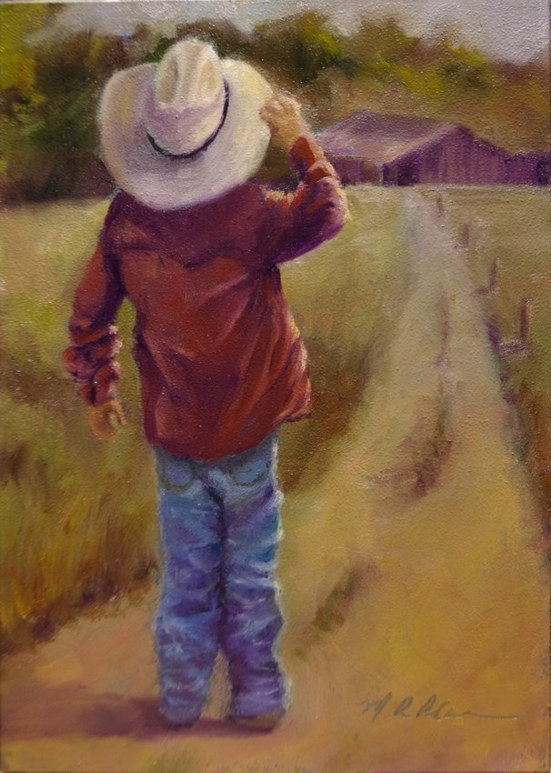 """""""Waiting 'til the Cows Come Home"""" original fine art by Marilyn R. Place"""