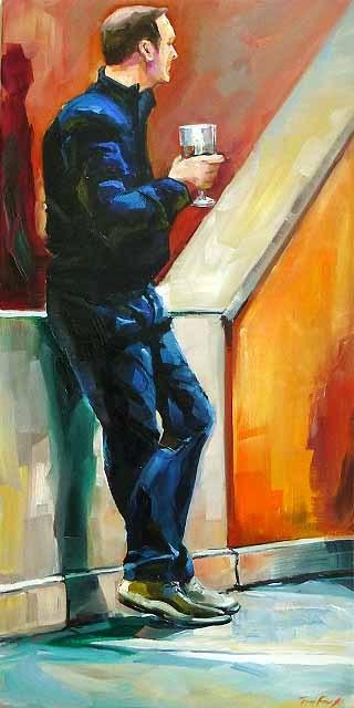 """""""ein glas wein"""" original fine art by Jurij Frey"""