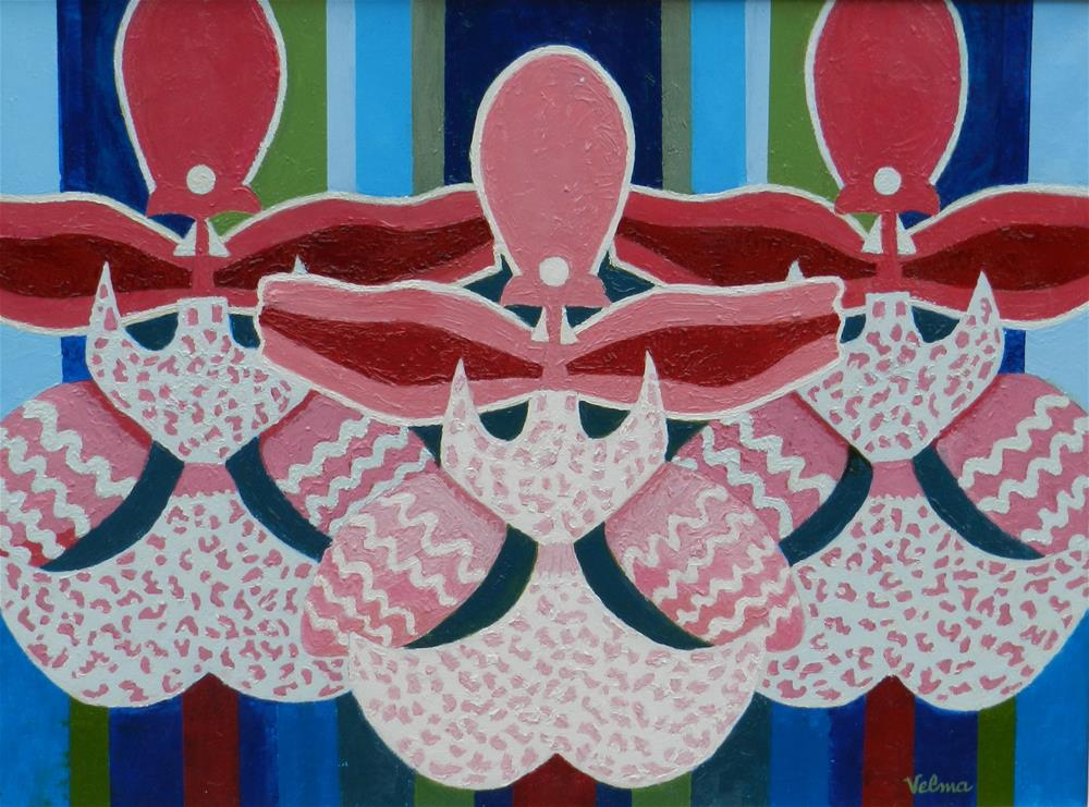 """Three Pink and White Orchids"" original fine art by Velma Davies"