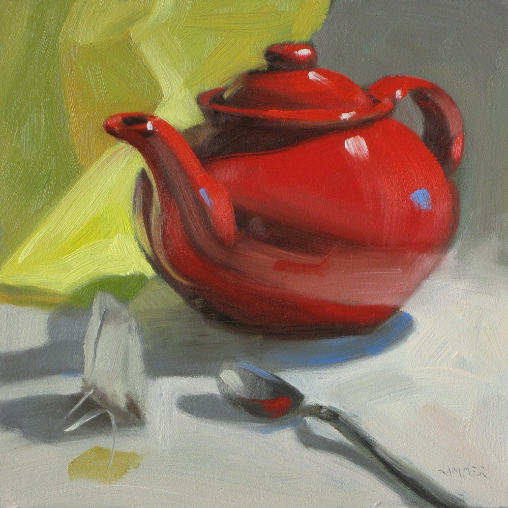 """Red teapot with spoon 6x6 oil"" original fine art by Claudia Hammer"