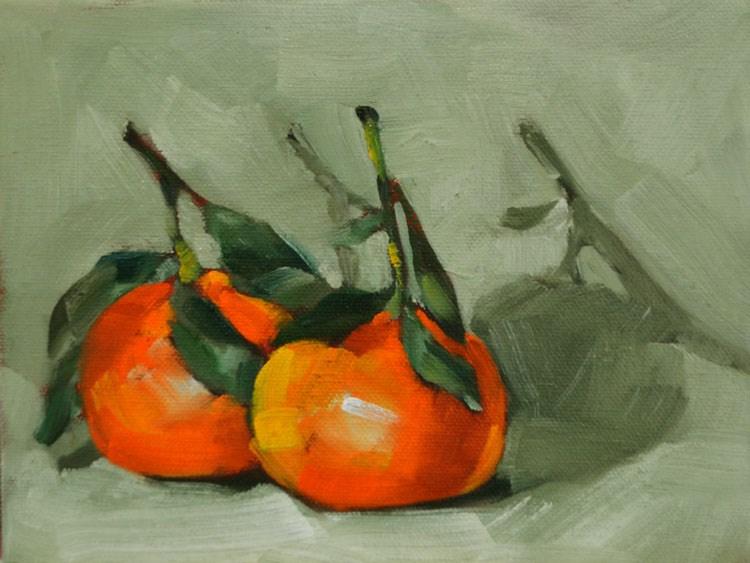 """Two Mandarins"" original fine art by Cheryl Wilson"