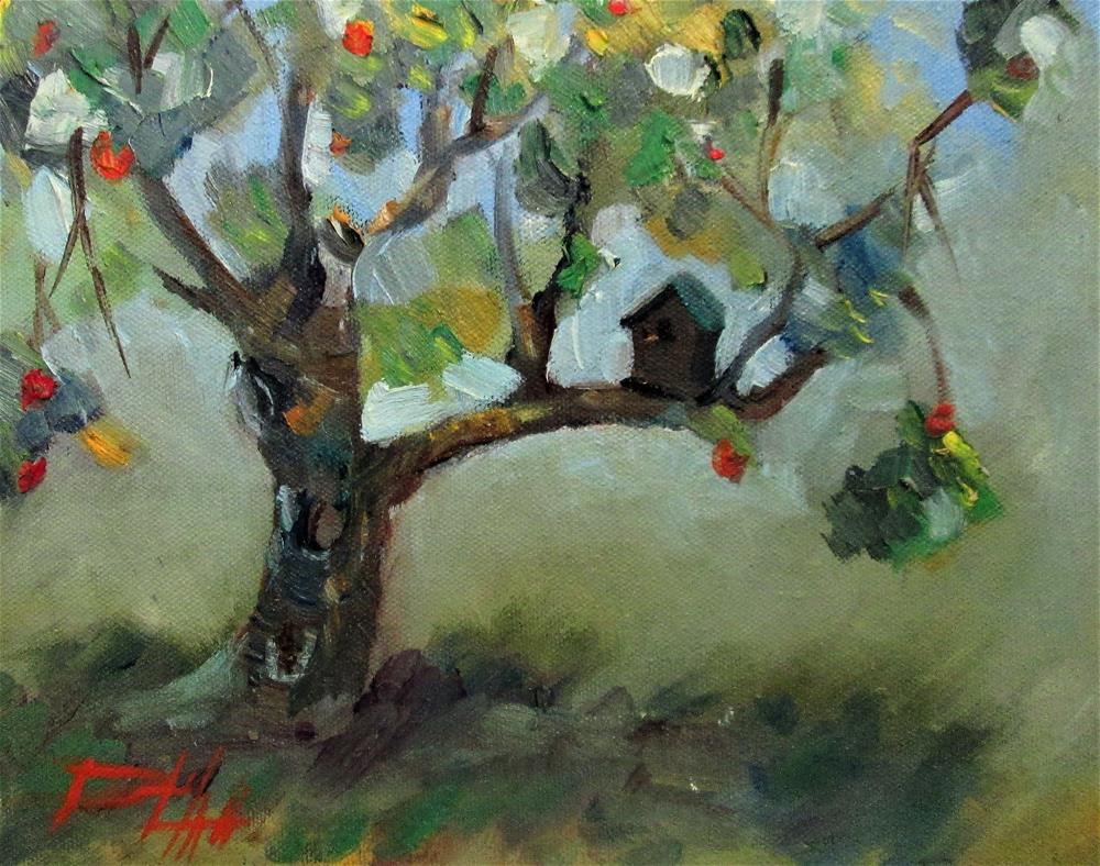 """Apple Tree and Bird House"" original fine art by Delilah Smith"