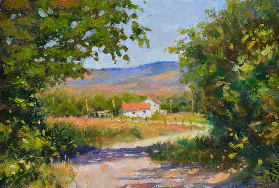 """""""French Farm house  -  Landscape oil painting on Gesso. Countryside of France"""" original fine art by Nick Sarazan"""