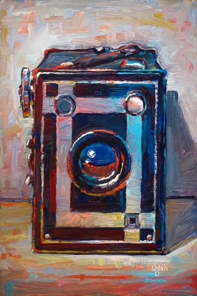 """Agfa Ansco B-2 Shur-Shot Box Camera"" original fine art by Raymond Logan"