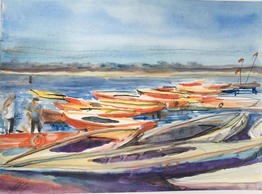"""Boats on the Ganges"" original fine art by Jean Krueger"