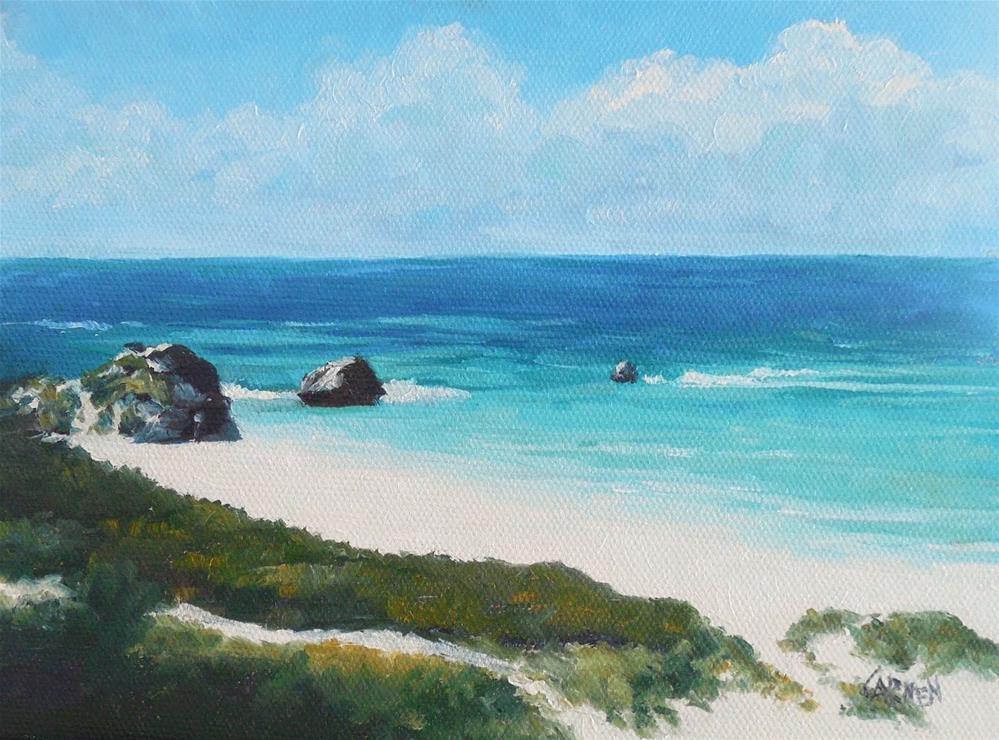 """Bermuda Scene, 8x6 Original Oil on Canvas Panel, Seascape"" original fine art by Carmen Beecher"