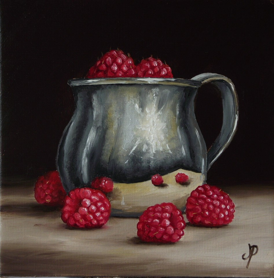 """""""Silver cup with Raspberries"""" original fine art by Jane Palmer"""
