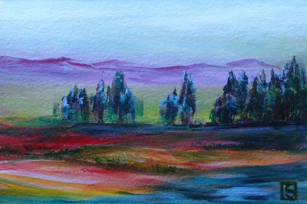 """""""4044 - Tree Lined Lake"""" original fine art by Sea Dean"""