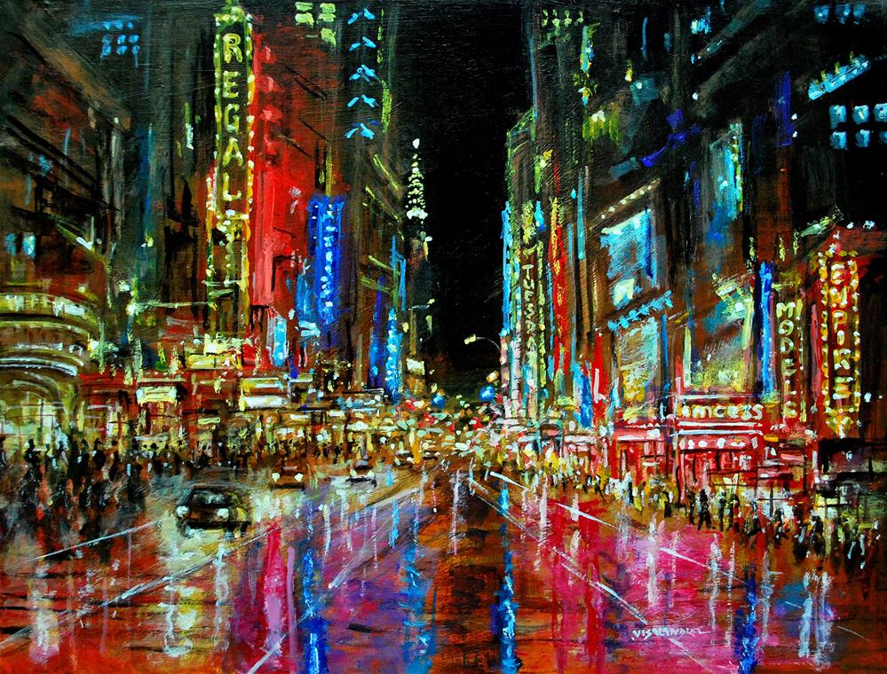 """New York in night 21"" original fine art by vishalandra dakur"
