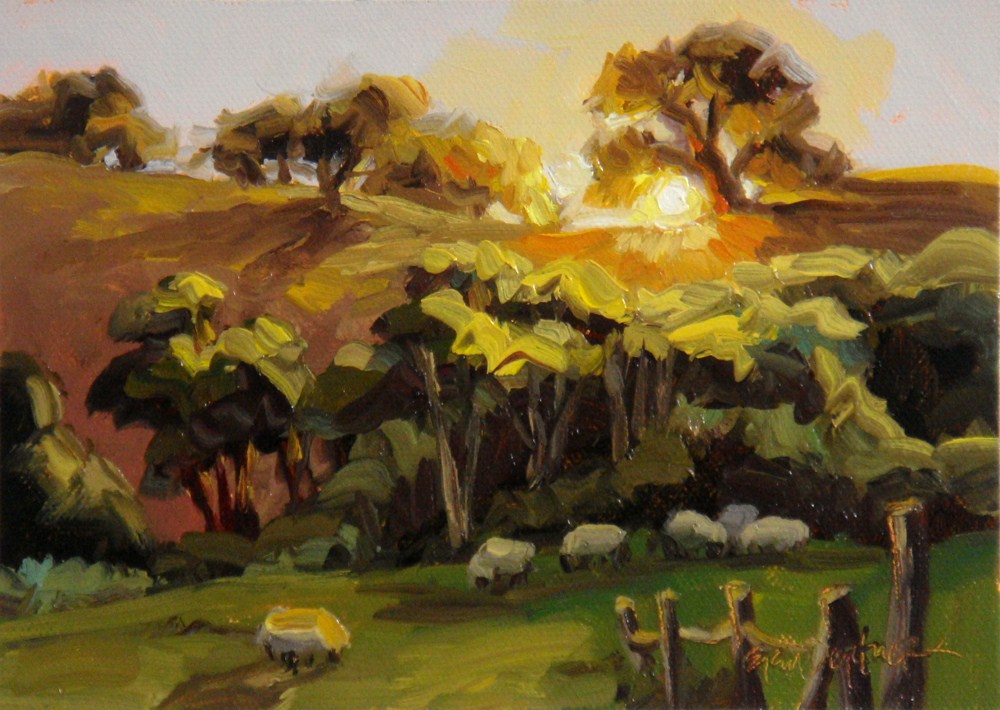 """""""Country Sundown"""" original fine art by Erin Dertner"""