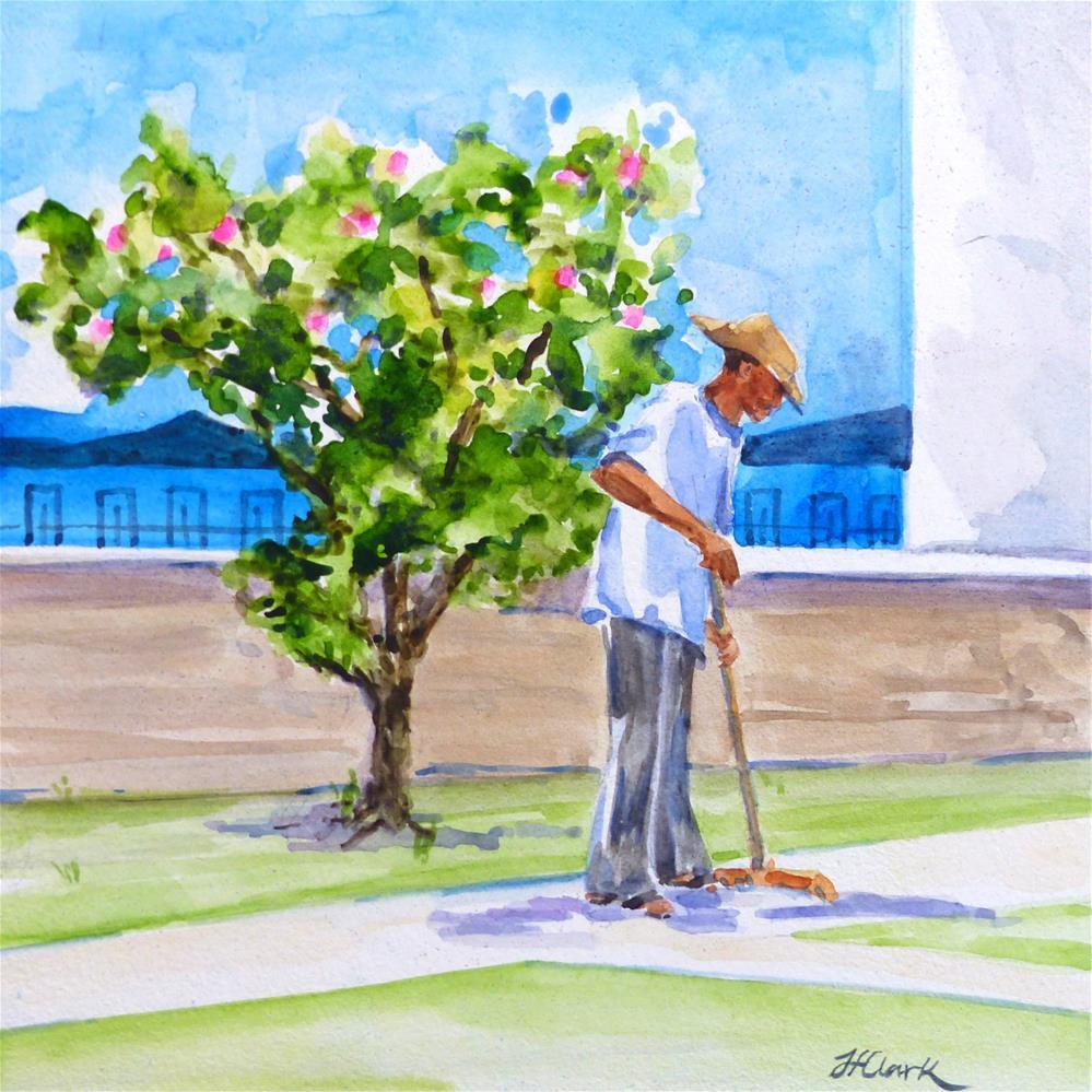 """Sweeper, Old San Juan, P.R."" original fine art by Judith Freeman Clark"