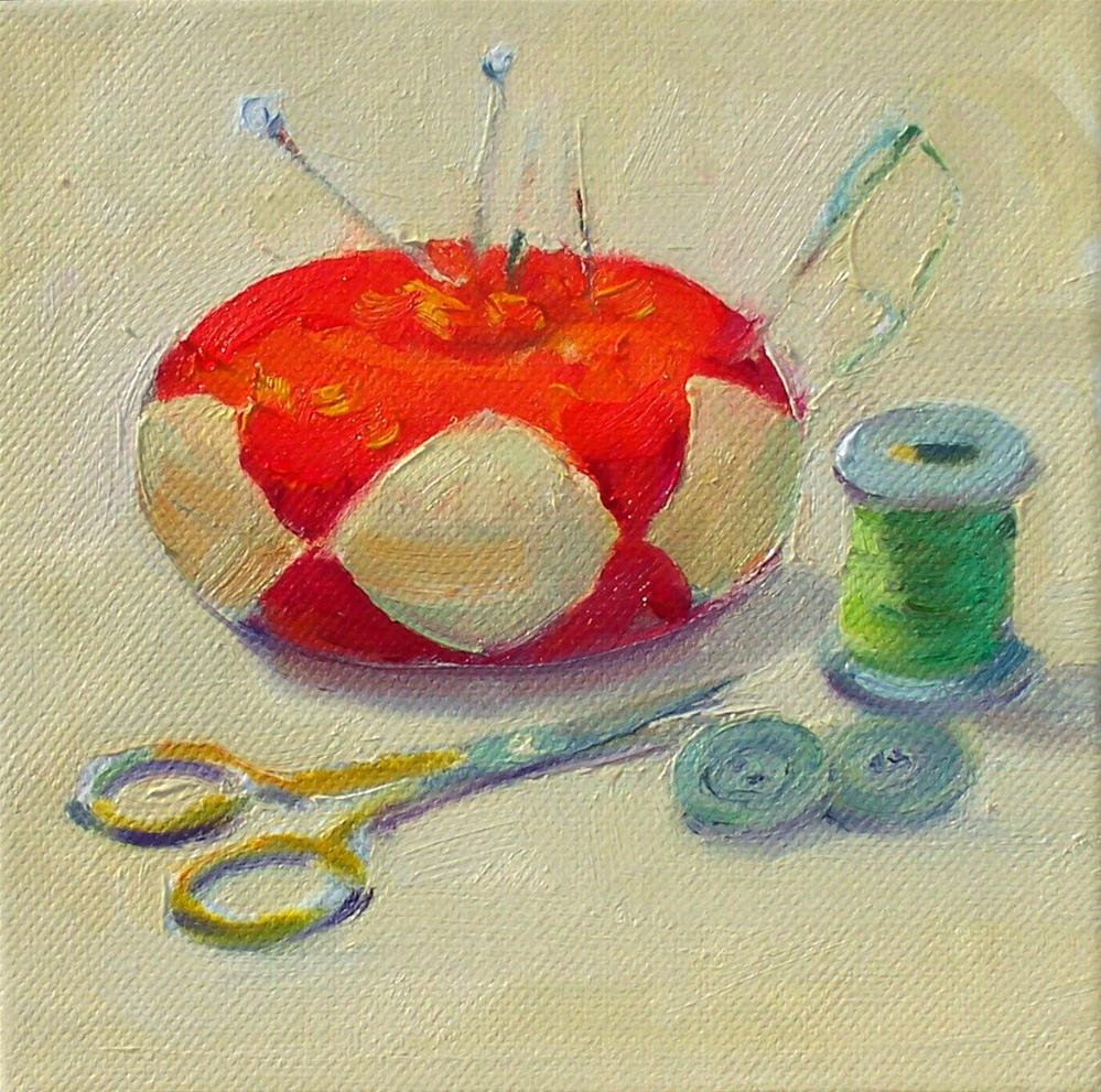 """""""Sewing Things,still life,oil on canvas,6x6,price$175"""" original fine art by Joy Olney"""