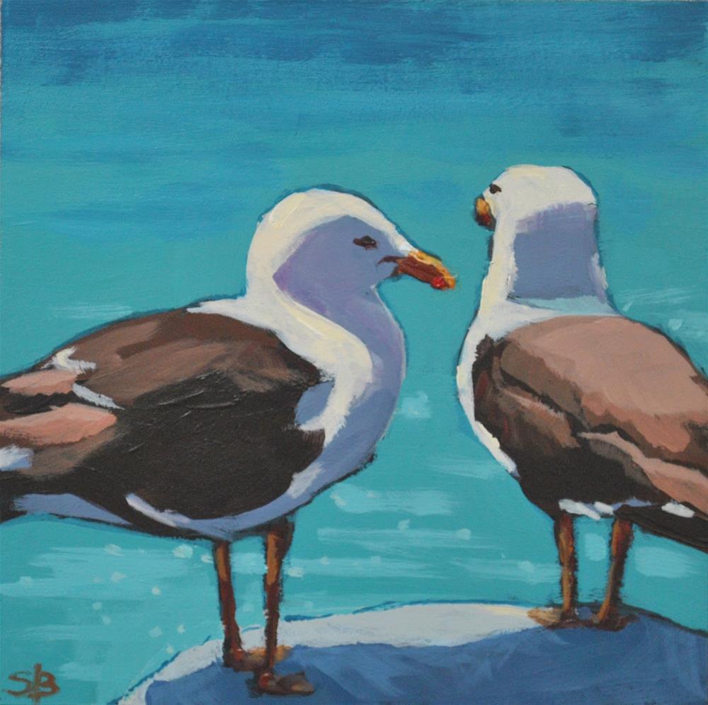 """Gossiping Seagulls"" original fine art by Shari Buelt"