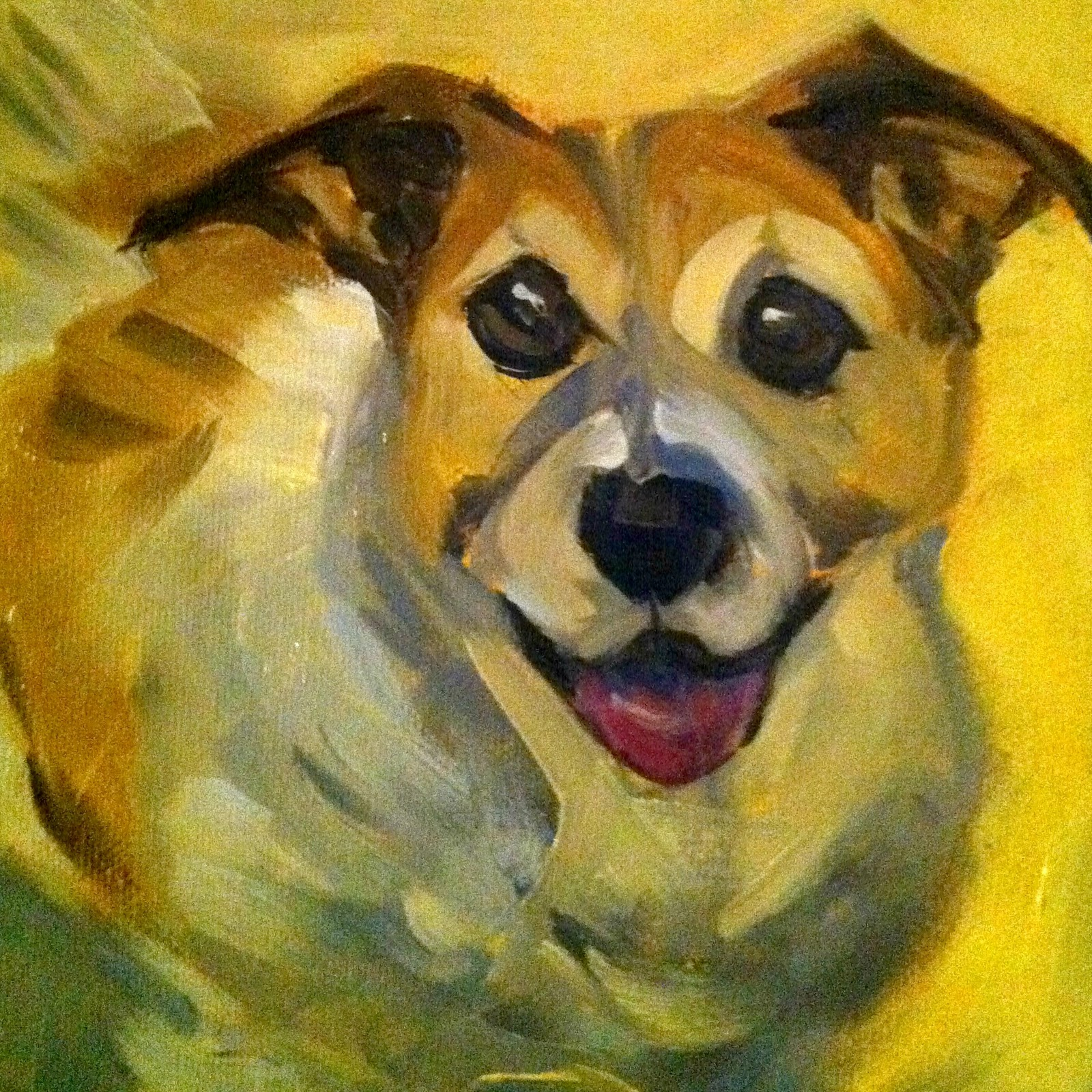 """""""The Best Dog In the World, oil on canvas board, 6x6"""" original fine art by Darlene Young"""