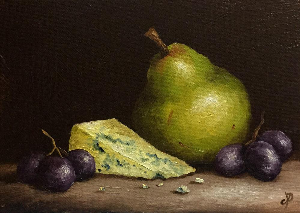 """Pear with Stilton and Grapes"" original fine art by Jane Palmer"