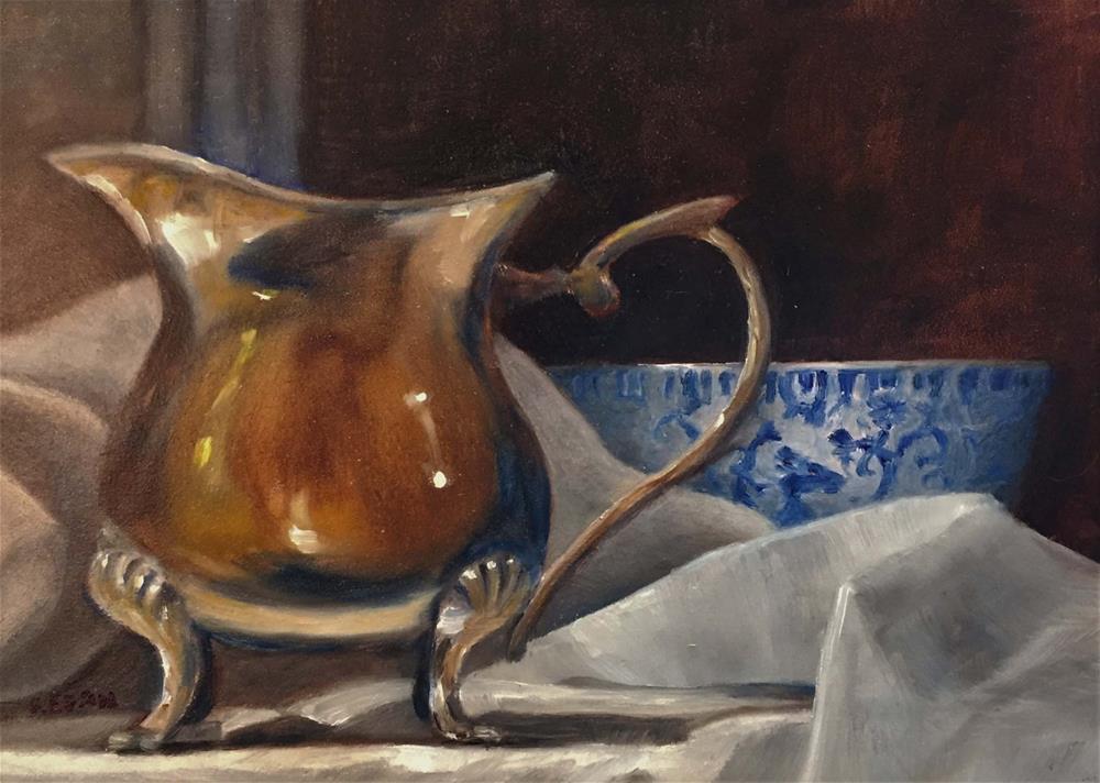 """Silver Creamer and Phoenix Bird Cup"" original fine art by Sharon Egan"