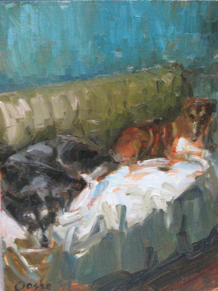 """""""Amber's Dogs"""" original fine art by Angela Ooghe"""