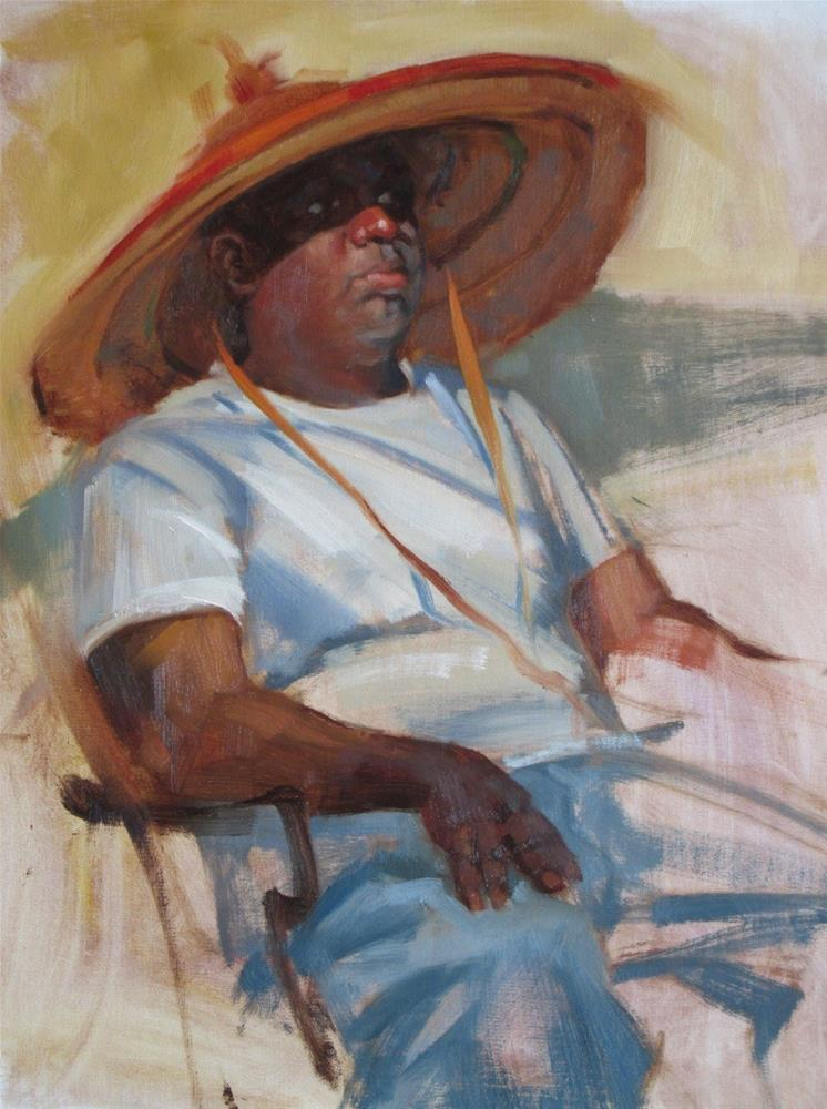 """Hat from Mali 16in x 12in oil"" original fine art by Claudia Hammer"