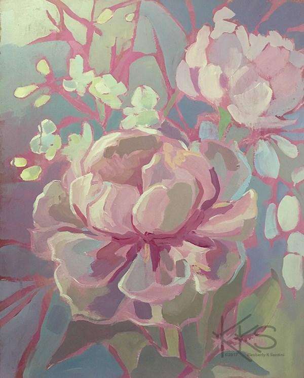 """""""Pink Peonies"""" original fine art by Kimberly Santini"""