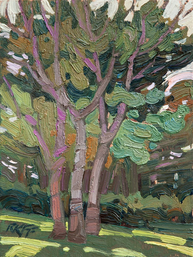 """Park Side Trees:  8x6  oil on panel"" original fine art by Ken Faulks"