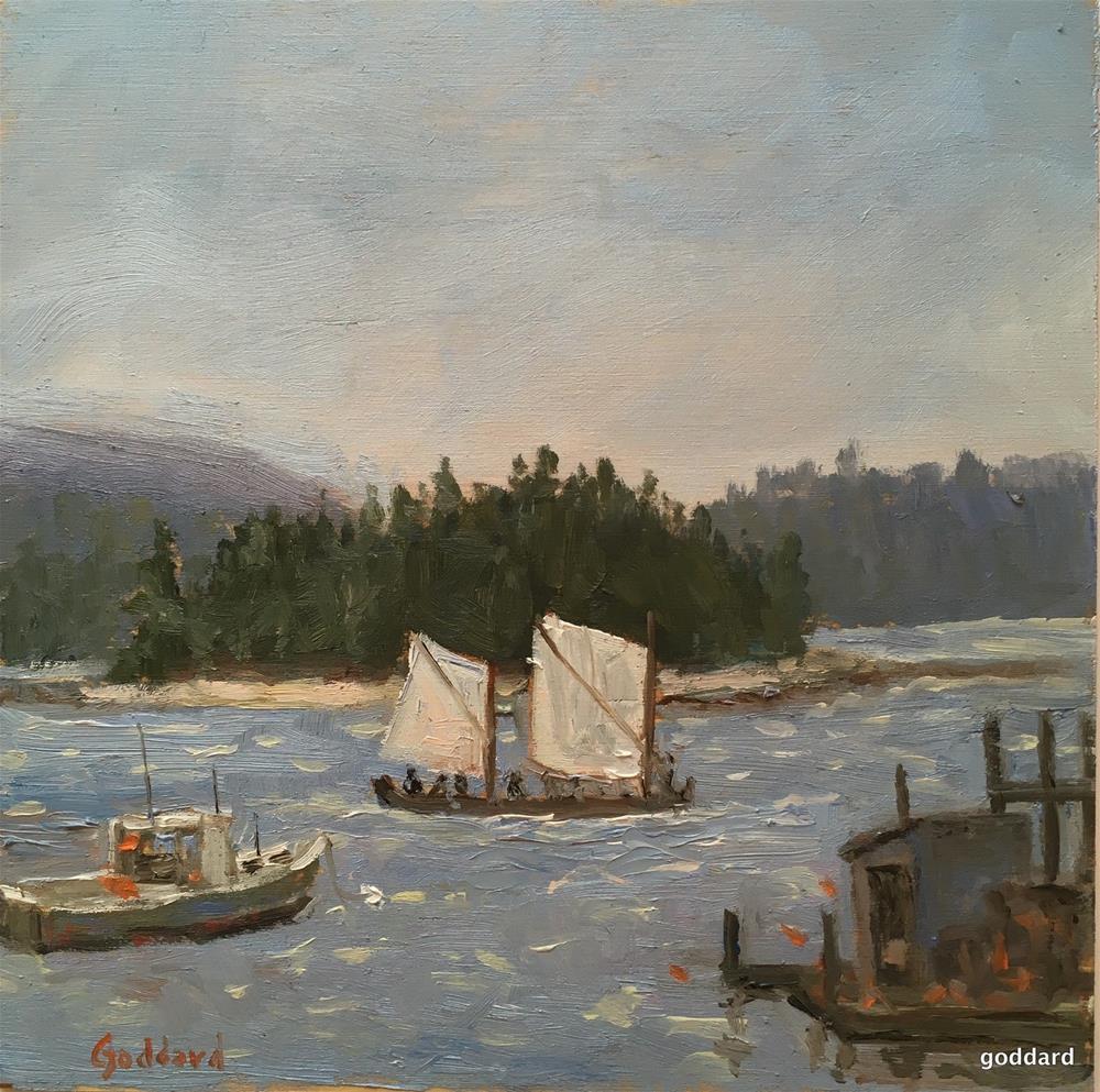 """Foggy Harbor"" original fine art by Shari Goddard Shambaugh"