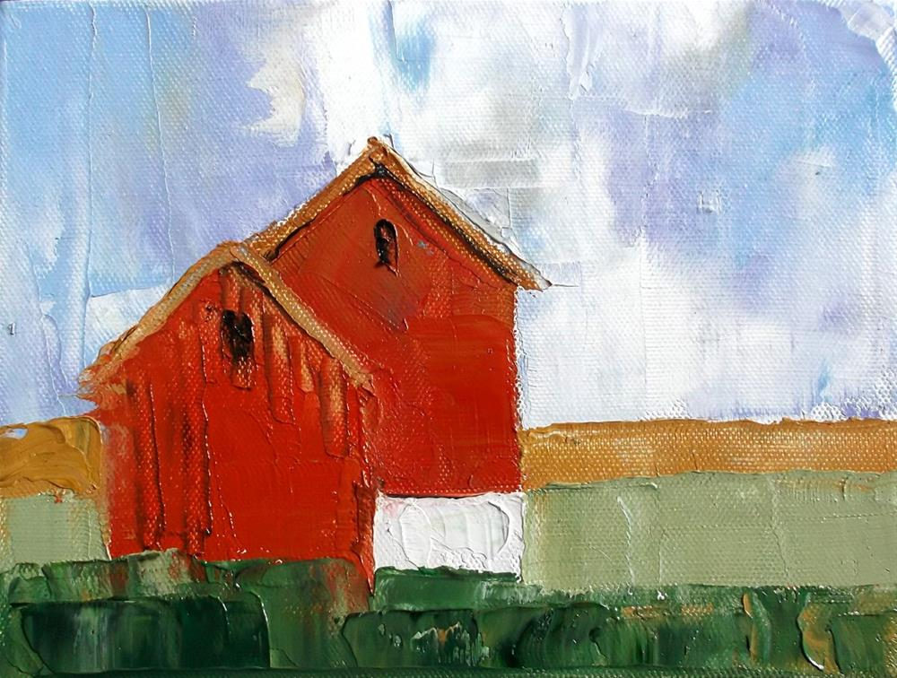 """Impressionist Red Barns"" original fine art by lynne french"