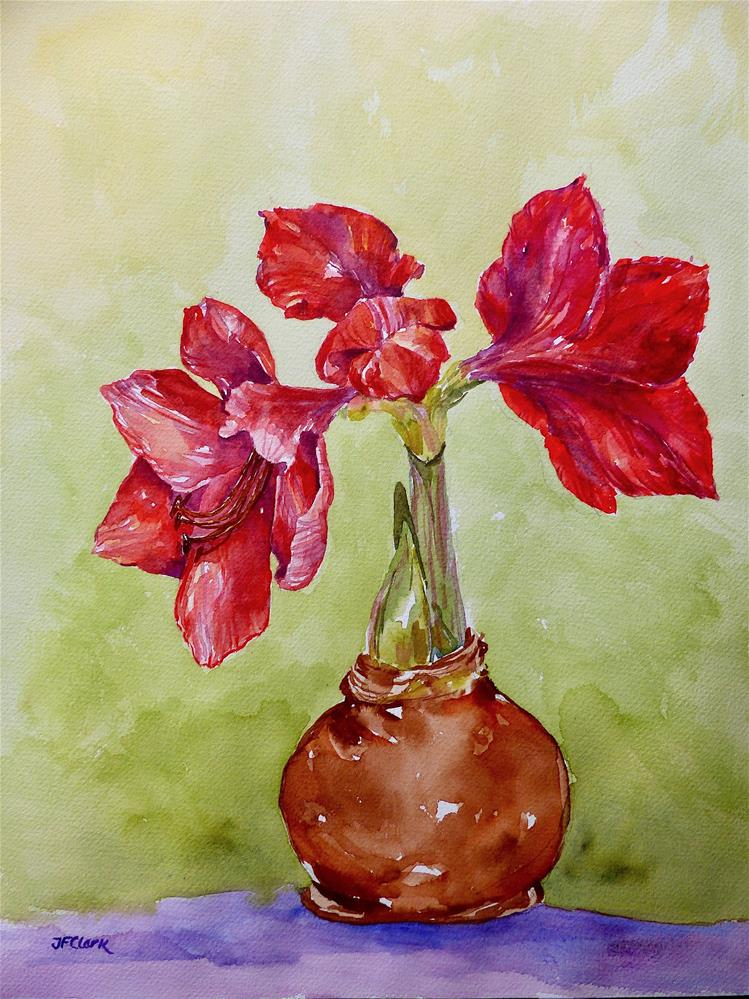 """Holiday Amaryllis"" original fine art by Judith Freeman Clark"