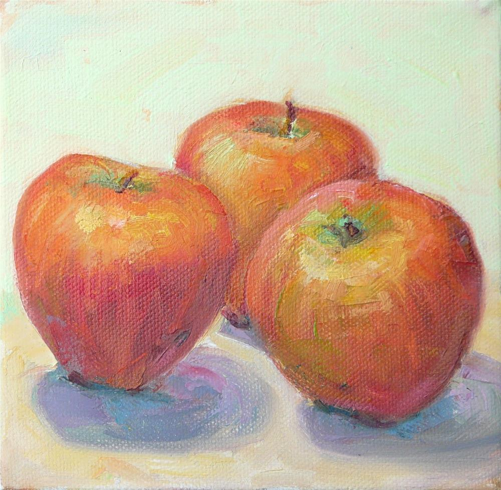 """Apples fpor Art,still life,oil on canvas,6x6,price$125"" original fine art by Joy Olney"