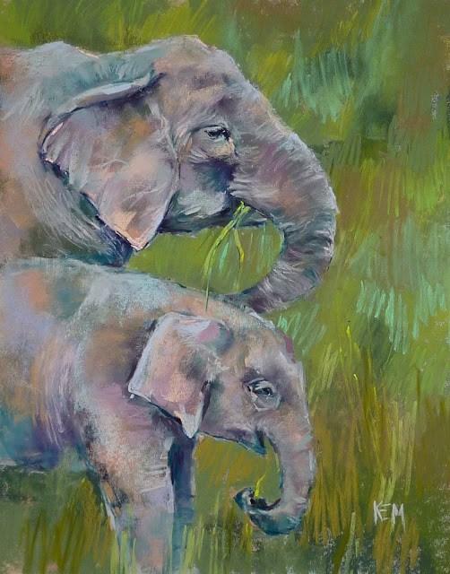 """Painting Elephants: Behind the Scenes"" original fine art by Karen Margulis"