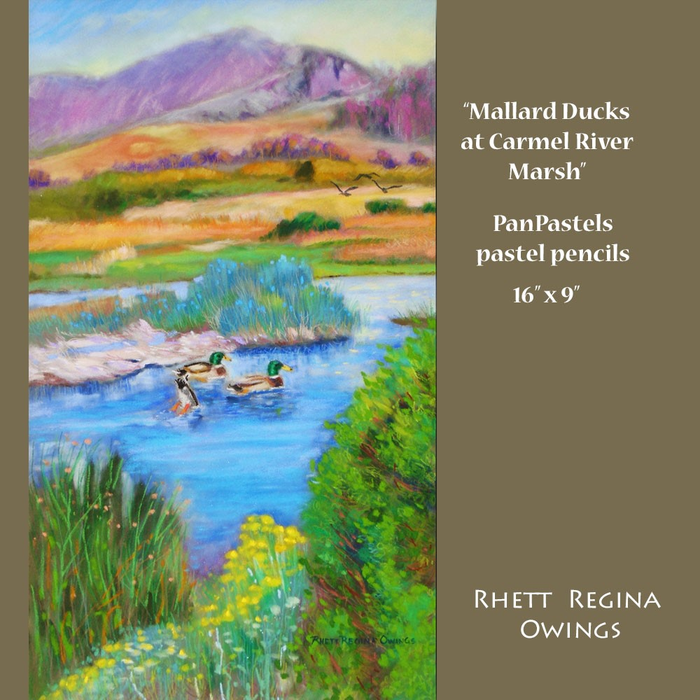 """""""Mallard Ducks at Carmel River Marsh"""" original fine art by Rhett Regina Owings"""