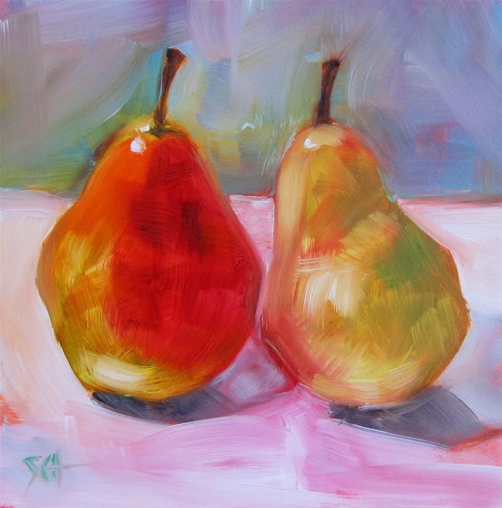 """""""Paintable pears"""" original fine art by Sandy Haynes"""