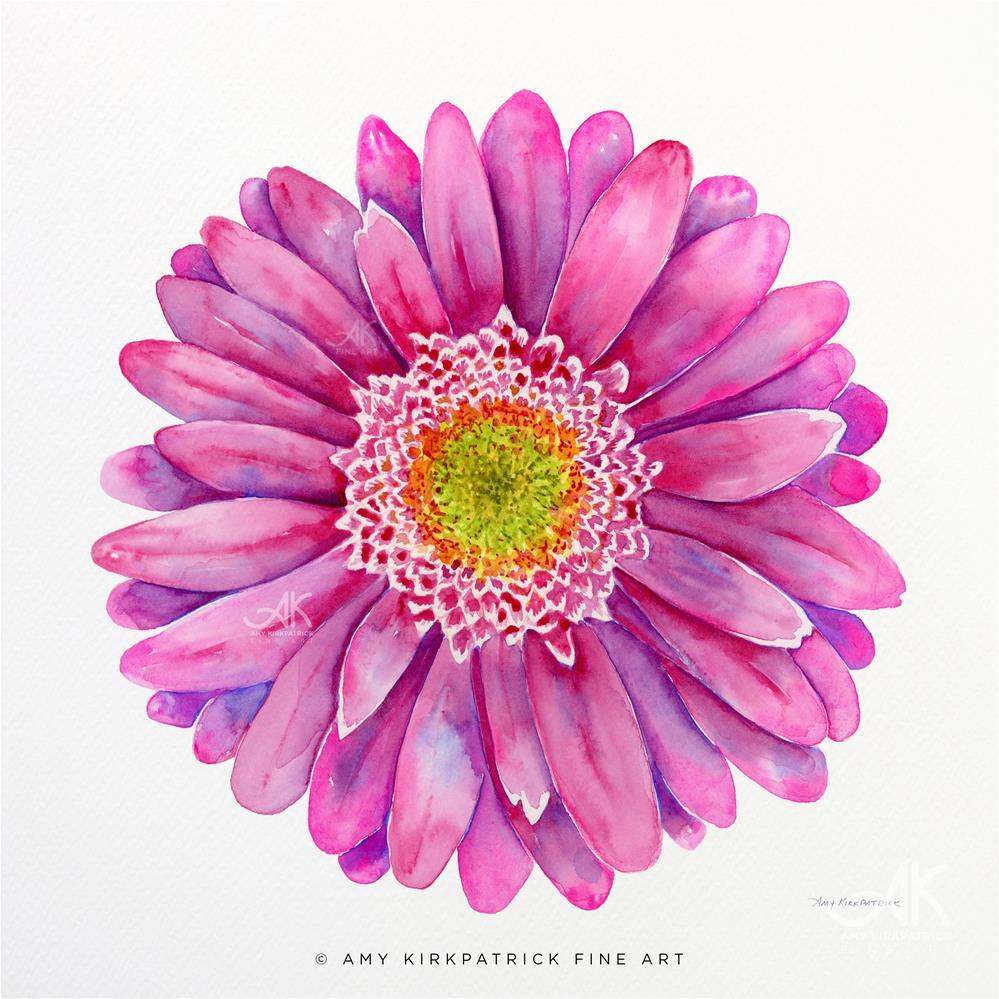 """PINK GERBERA DAISY #0505"" original fine art by Amy Kirkpatrick"