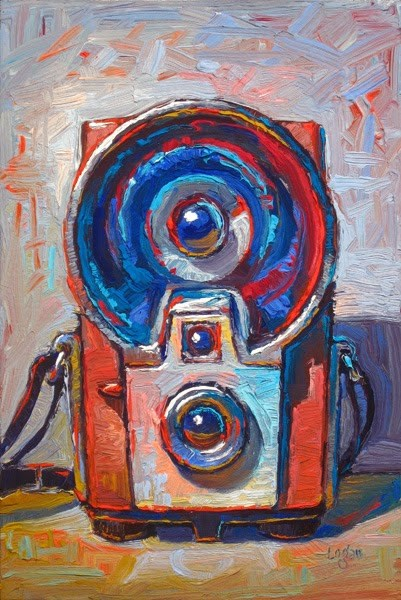 """Kodak Brownie Starflash Camera Red"" original fine art by Raymond Logan"
