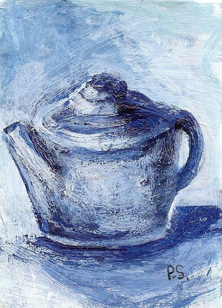 """ACEO Blue Teapot Painterly Style Miniature Art Painting by Penny StewArt"" original fine art by Penny Lee StewArt"