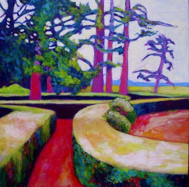 """""""Chateau de Bourgane Gardens"""" original fine art by Patricia MacDonald"""
