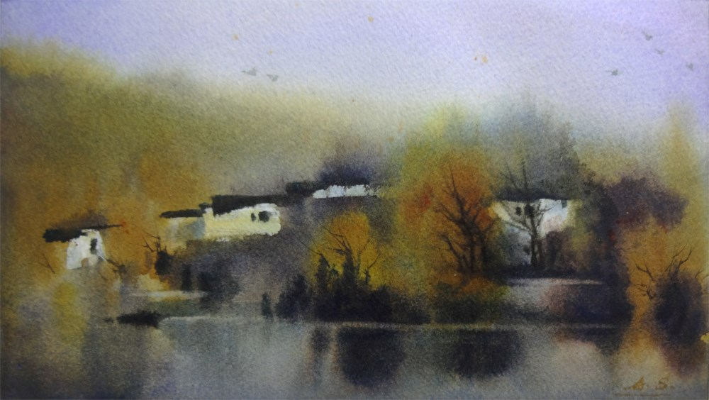 """""""Fall in a Mountain Village"""" original fine art by Arena Shawn"""