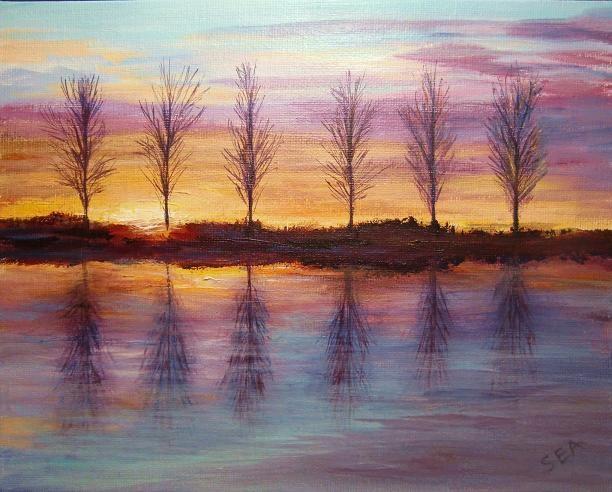 """2113 - Sunset at Mepal"" original fine art by Sea Dean"