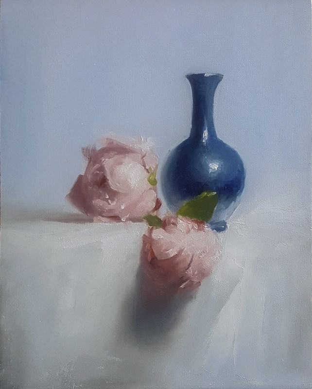 """Bud Vase with Peonies"" original fine art by Neil Carroll"