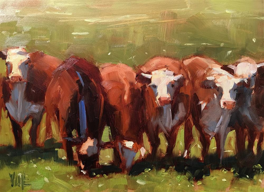 """#300 Congratulatory Cows"" original fine art by Patty Voje"