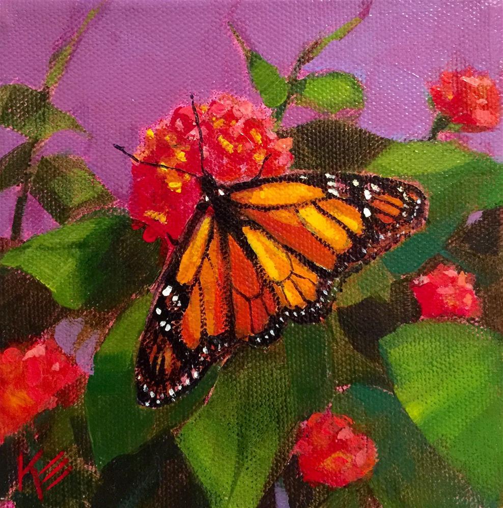 """Monarch in the Garden"" original fine art by Krista Eaton"