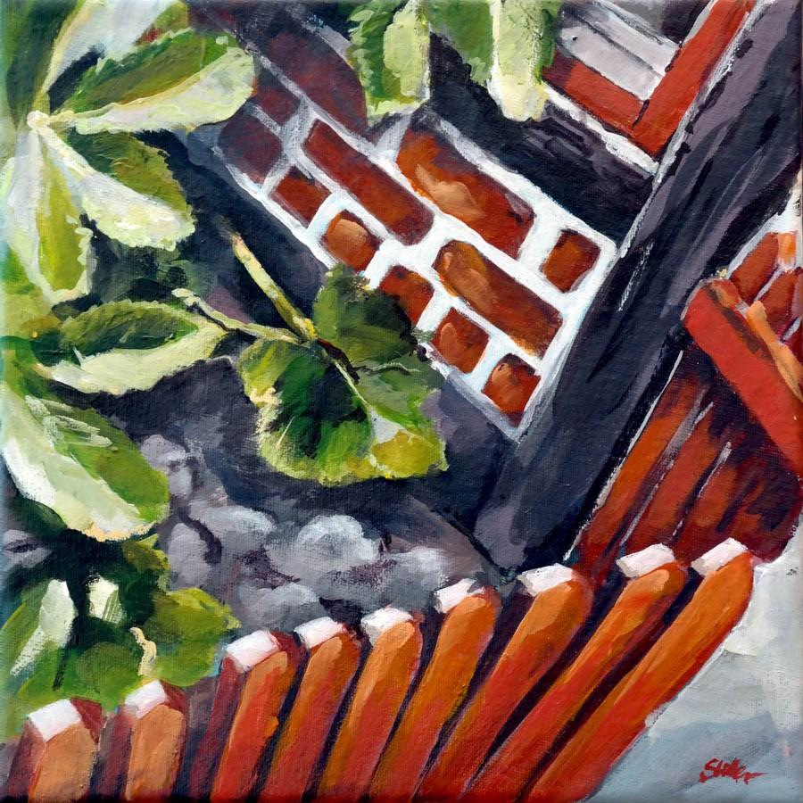 """1435 Hollyhocks at the Fence"" original fine art by Dietmar Stiller"