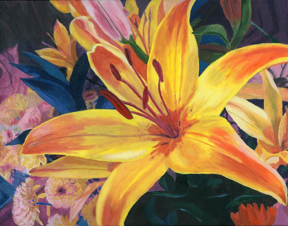 """Arranging Lily"" original fine art by Lynne Reichhart"