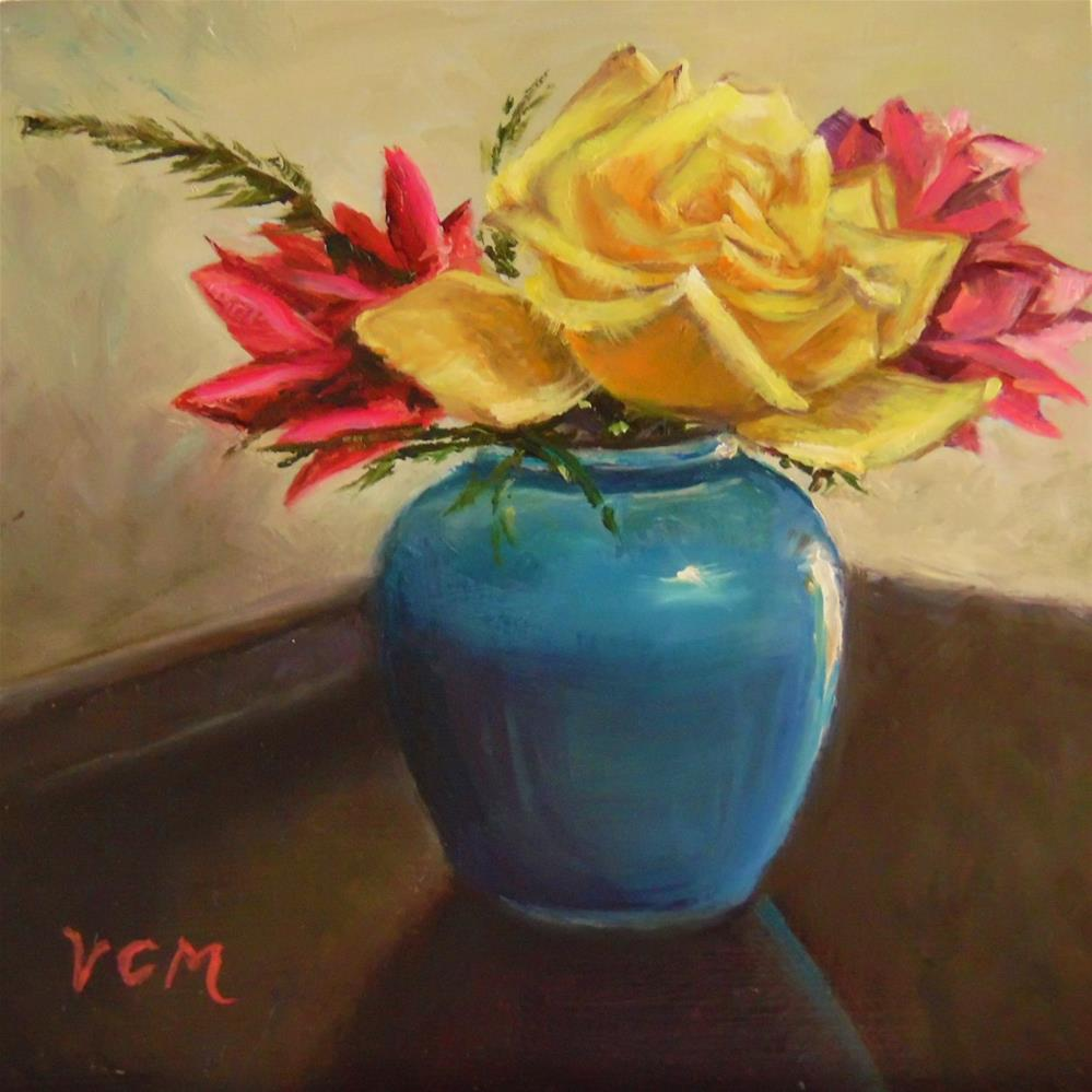 """""""Rookwood Pottery with Roses"""" original fine art by Vana Meyers"""